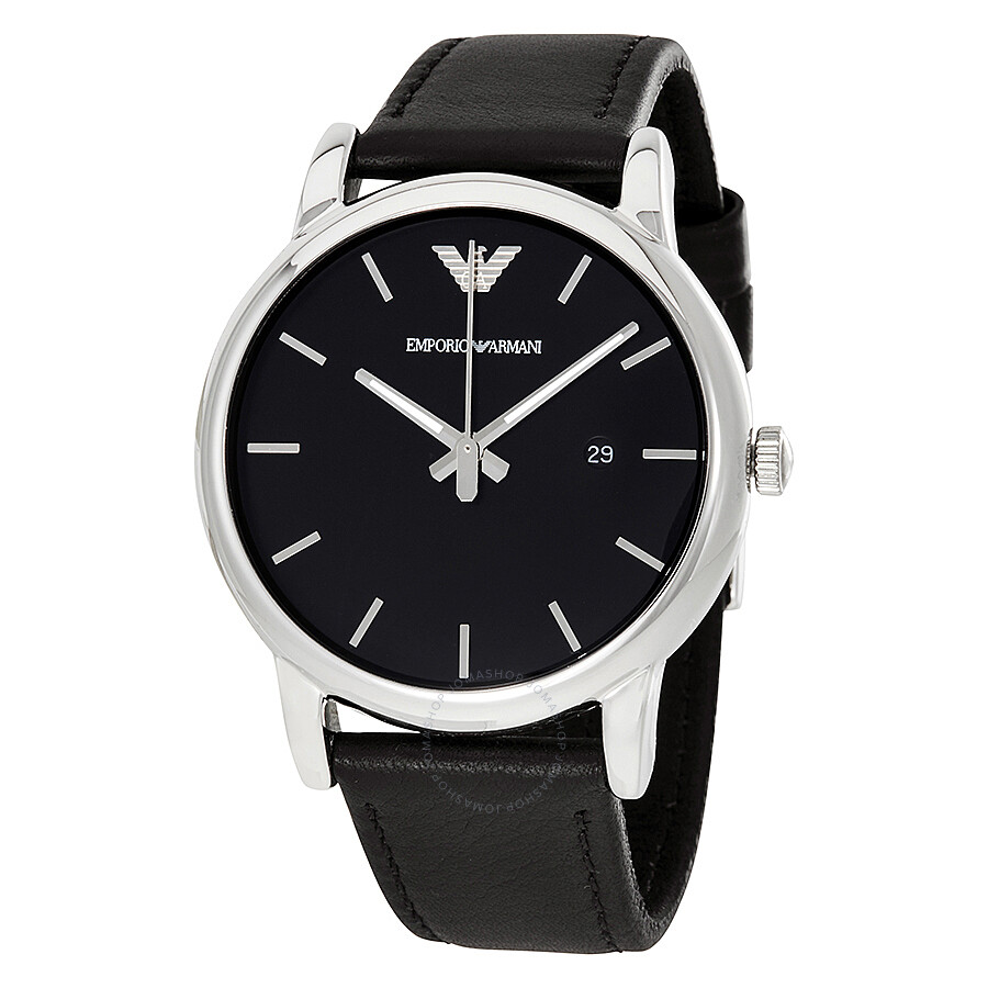 Emporio armani classic black dial black leather strap men 39 s watch ar1692 emporio armani for Leather strap watches