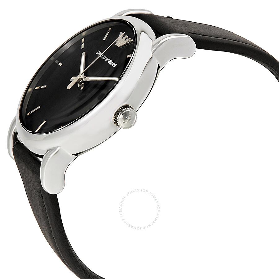 Emporio armani classic black dial black leather strap men 39 s watch ar1692 emporio armani for Black leather strap men