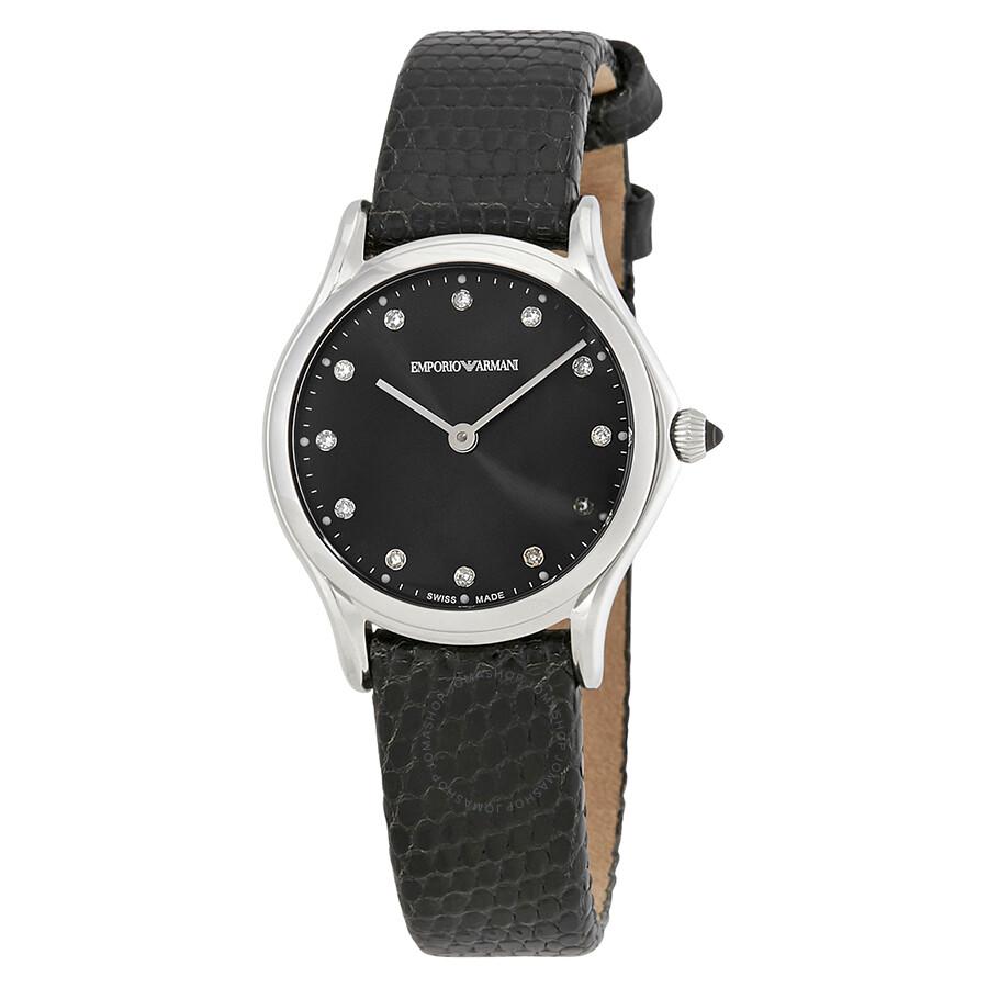 b1188e5704 Emporio Armani Classic Black Dial Leather Ladies Watch ARS7502