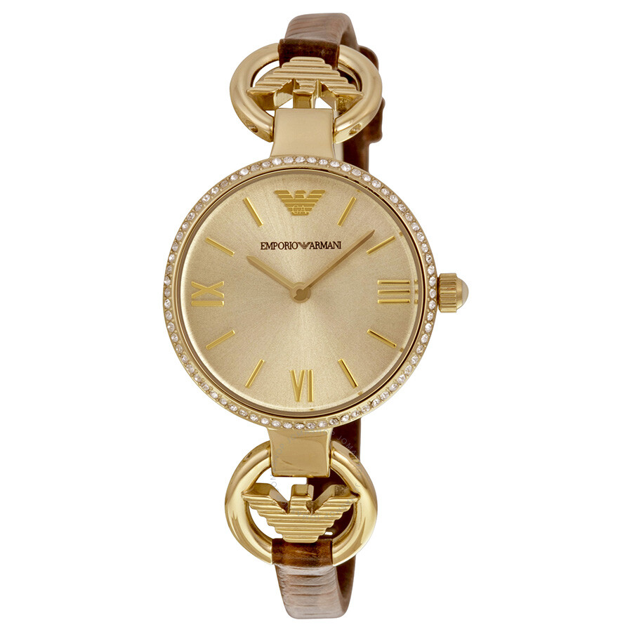 3c052f2c0337 Emporio Armani Classic Champagne Sunray Dial Brown Leather Ladies Watch  AR1885 ...