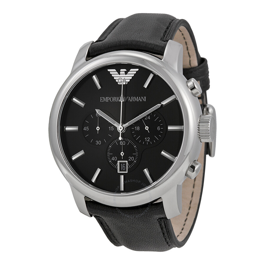 5725049452c2 Emporio Armani Classic Chronograph Black Dial Black Leather Men s Watch  AR0431 ...