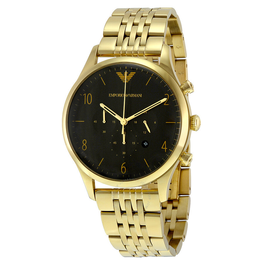 Emporio armani classic black dial gold tone stainless steel men 39 s watch ar1893 emporio armani for Watches gold