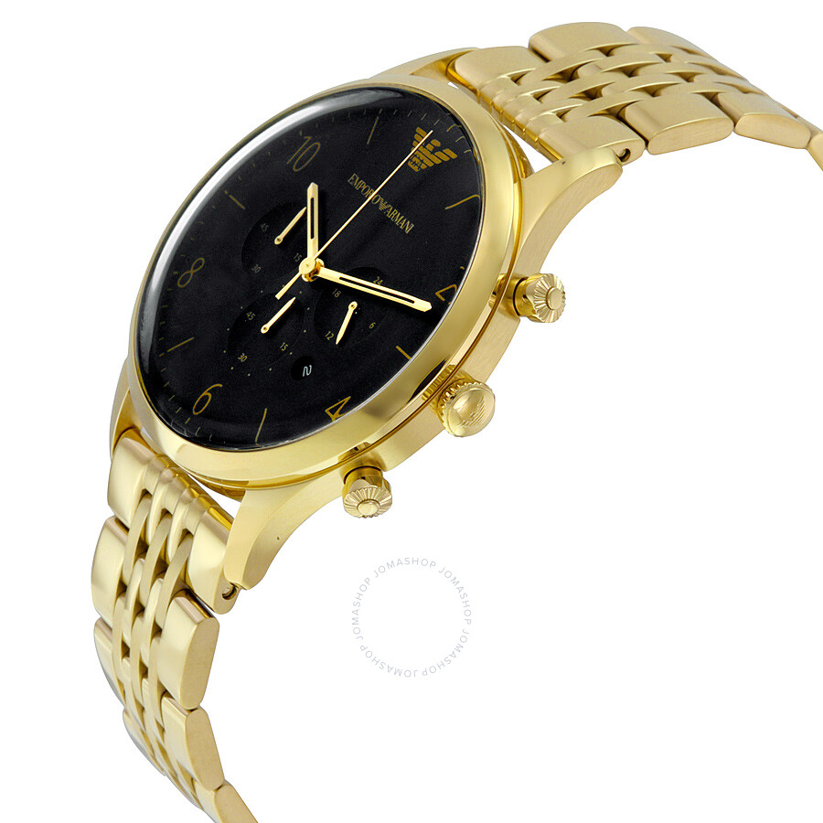 emporio armani classic black gold tone stainless