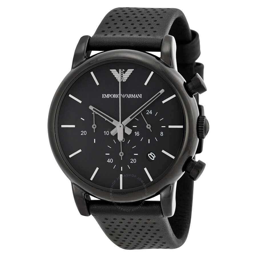 emporio armani classic chronograph black dial black leather men 39 s watch ar1737 emporio armani. Black Bedroom Furniture Sets. Home Design Ideas