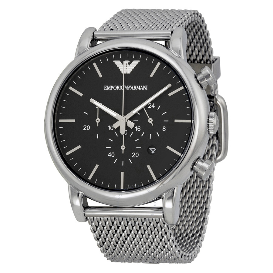 emporio armani classic chronograph black dial men 39 s watch. Black Bedroom Furniture Sets. Home Design Ideas