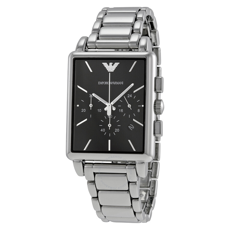 024e00ae Emporio Armani Classic Chronograph Black Dial Stainless Steel Men's Watch  AR1850