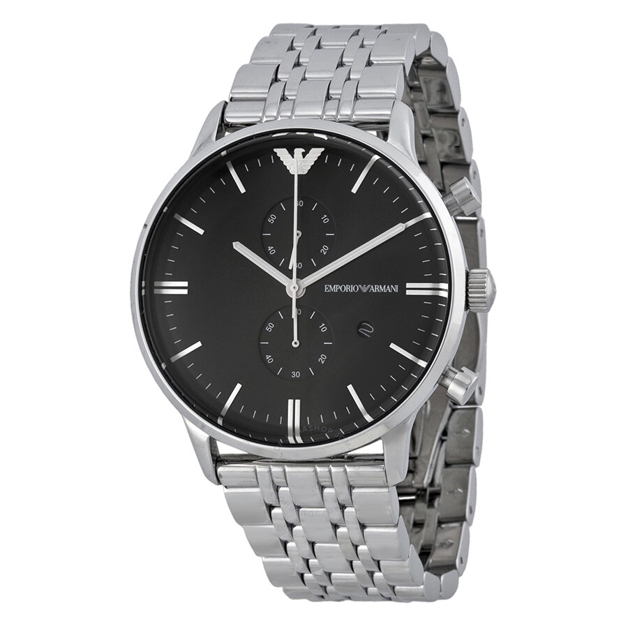 94647a43 Emporio Armani Classic Chronograph Black Dial Stainless Steel Men's Watch  AR0389