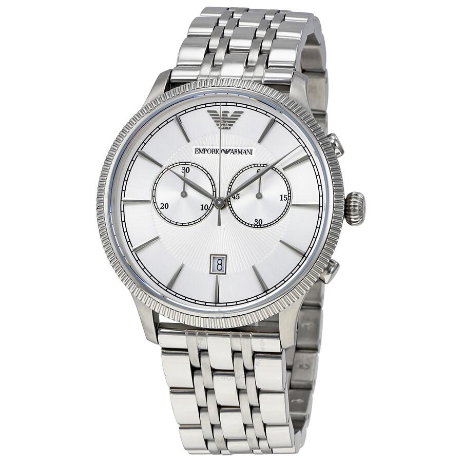 emporio armani classic chronograph silver dial men 39 s watch. Black Bedroom Furniture Sets. Home Design Ideas