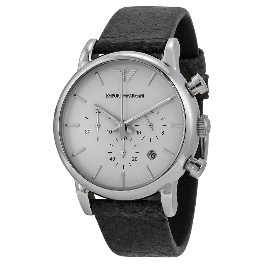 7067730db Emporio Armani Classic Chronograph White Dial Black Leather Men's Watch  AR1810 ...