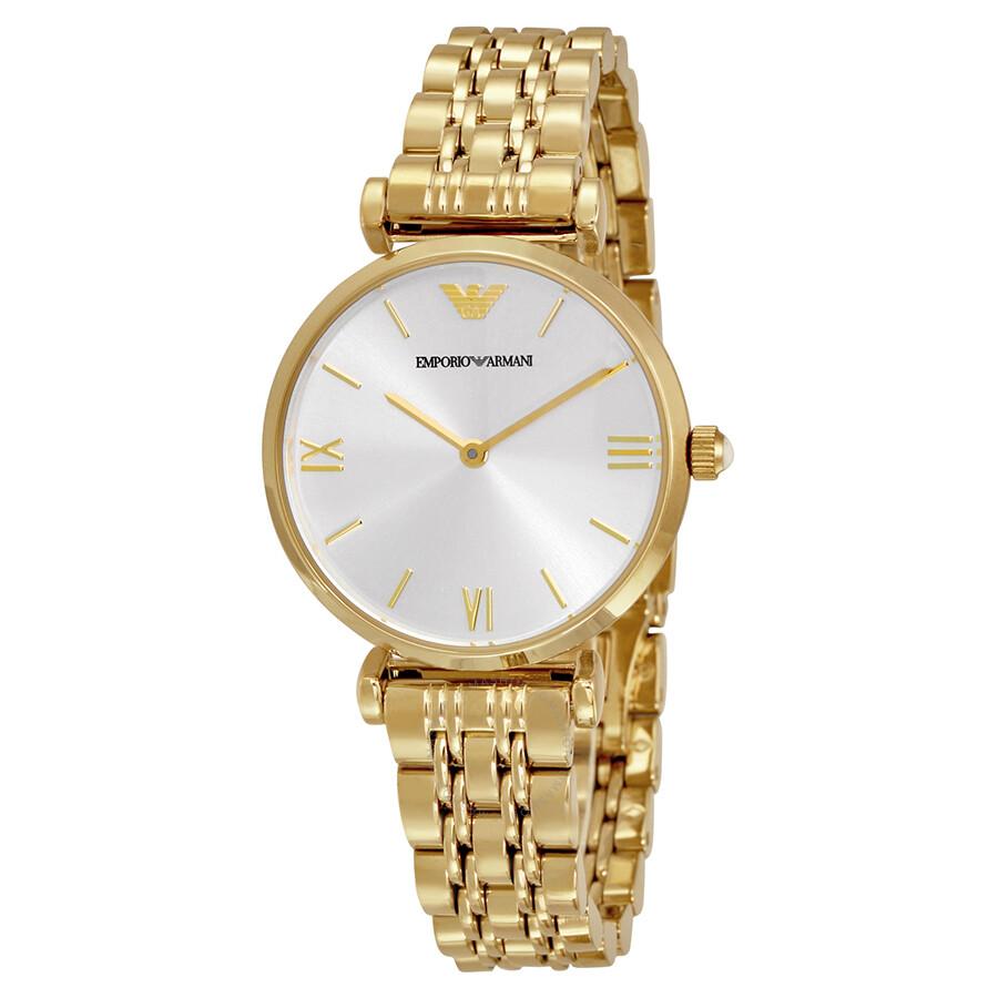 2fdb0b83 Emporio Armani Classic Silver Dial Gold Tone Ladies Watch AR1877