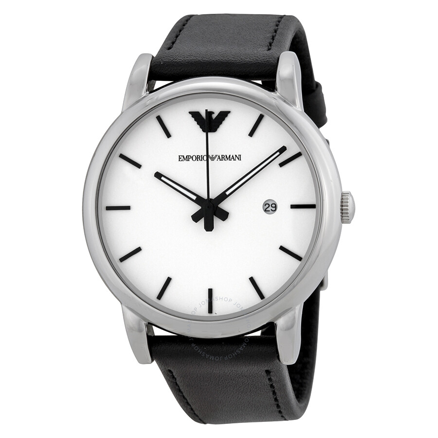 5064d1452 Emporio Armani Classic White Dial Black Leather Strap Men's Watch AR1694 ...