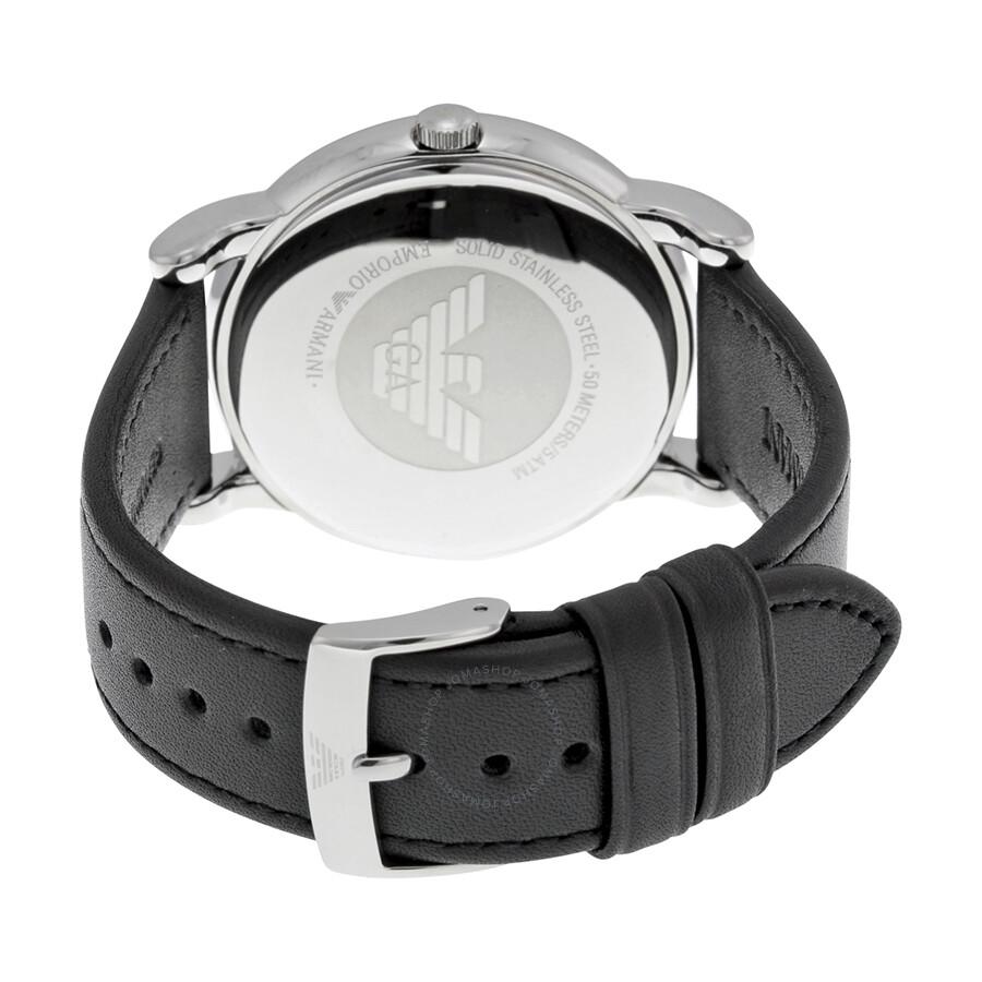 7e816c92a3f5a ... Emporio Armani Classic White Dial Black Leather Strap Men's Watch AR1694  ...