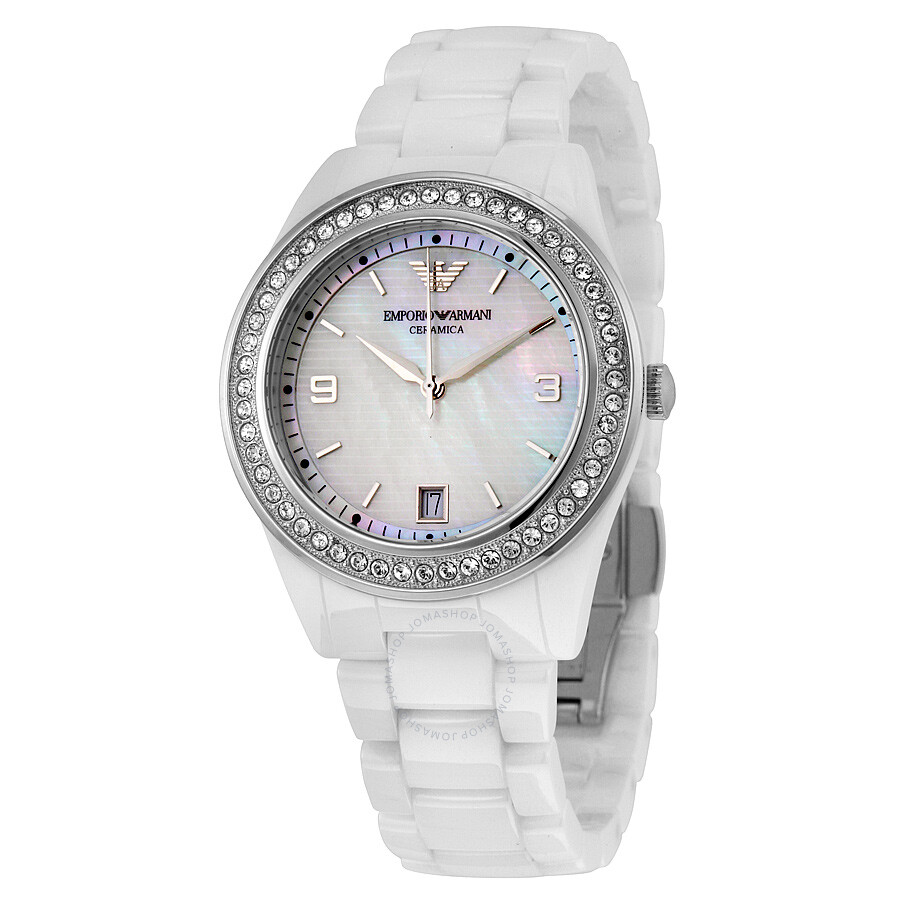 Emporio armani crystal mother of pearl dial ladies watch ar1426 emporio armani watches for Pearl watches