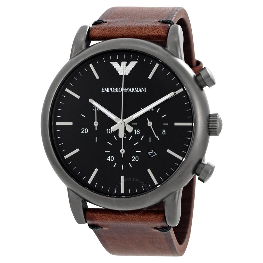 emporio armani watches jomashop emporio armani dress chronograph black dial men s watch