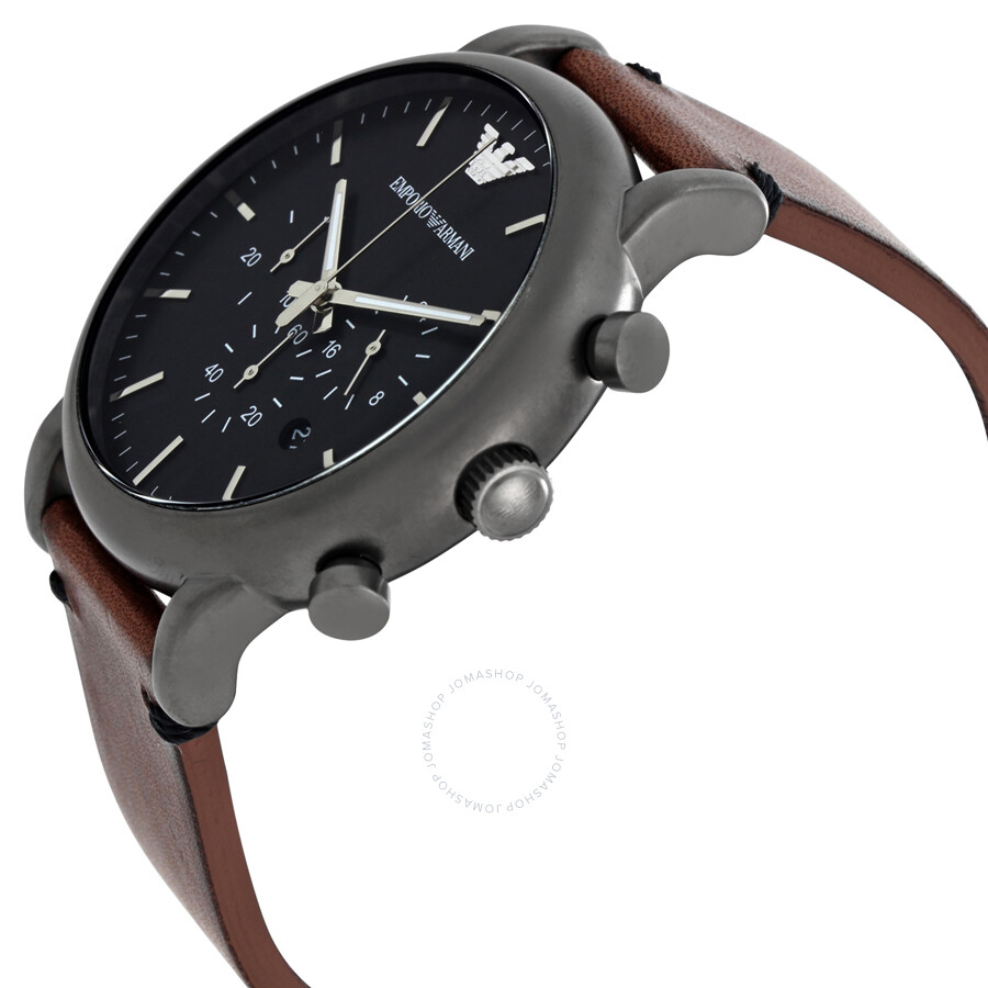 emporio armani dress chronograph black dial men 39 s watch. Black Bedroom Furniture Sets. Home Design Ideas