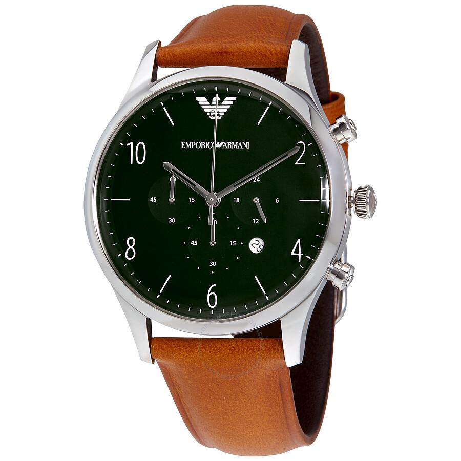 emporio armani dress chronograph green dial men 39 s watch. Black Bedroom Furniture Sets. Home Design Ideas