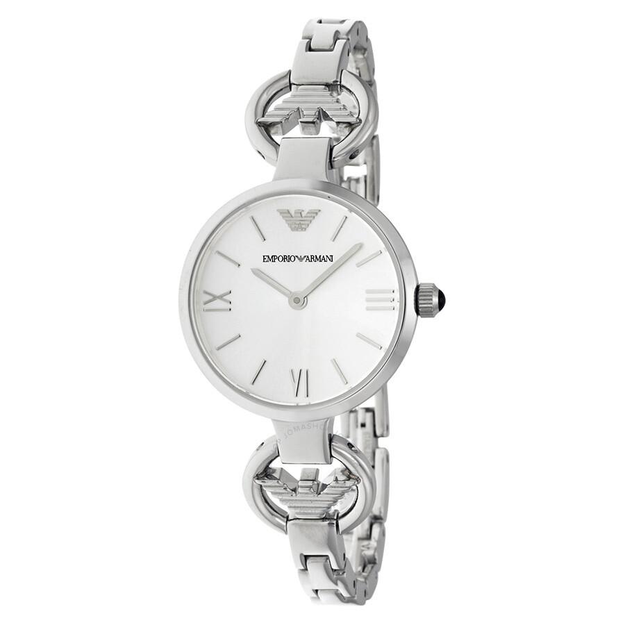 3c49862e Emporio Armani Gianni T-Bar Silver Dial Ladies Watch AR1772
