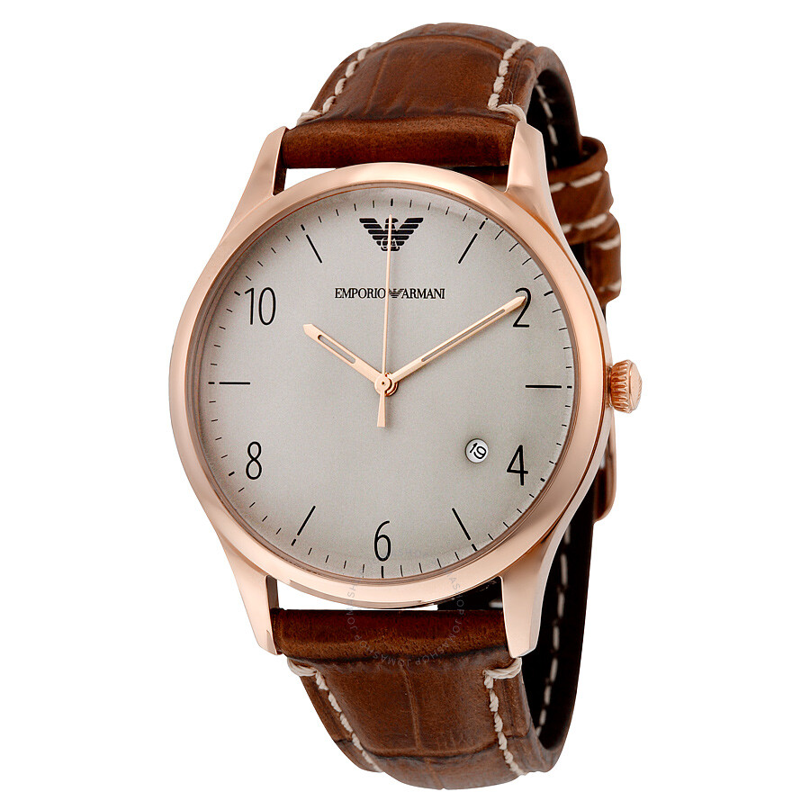 Leather Gmbh Contact Us Email Sales Mail: Emporio Armani Grey Dial Cognac Leather Men's Watch AR1866