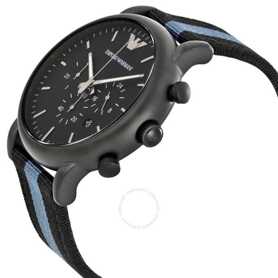 emporio armani luigi chronograph black dial men 39 s watch. Black Bedroom Furniture Sets. Home Design Ideas