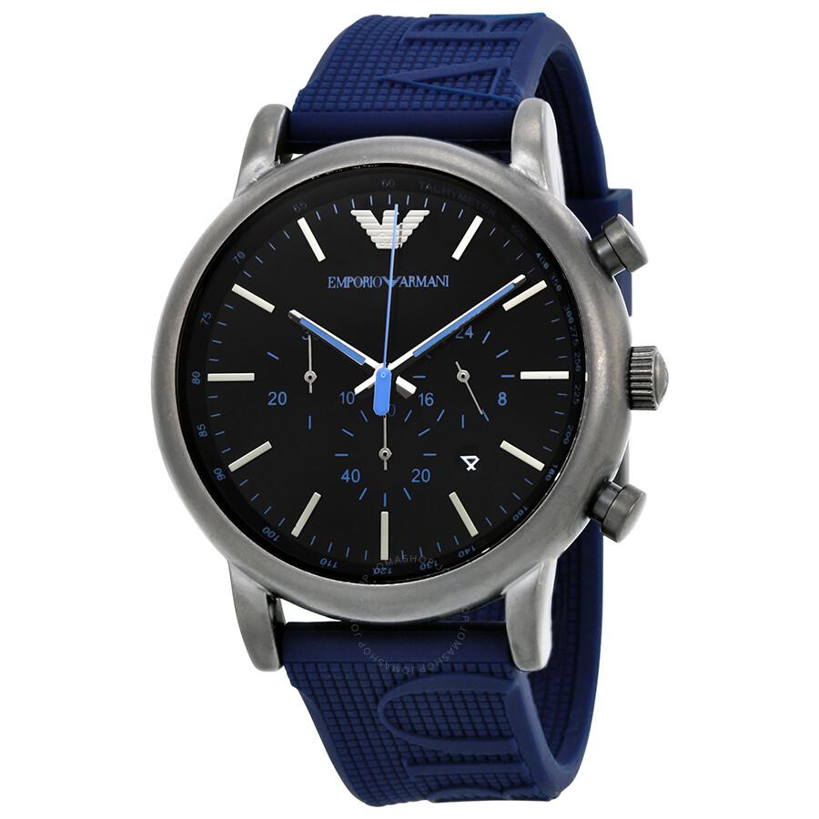 Emporio Armani Luigi Chronograph Black Dial Men's Watch ...