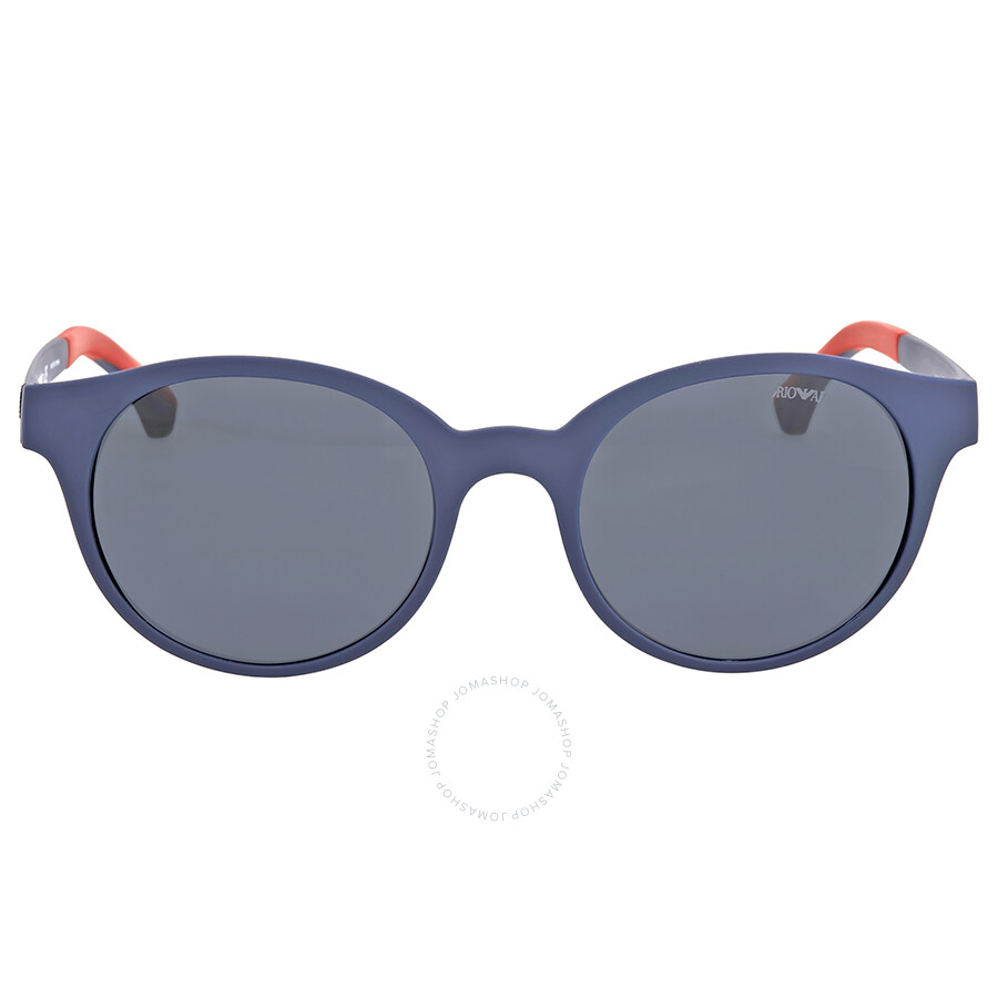 38636604118 Emporio Armani Mate Blue Round Sunglasses Item No. EA4045 512287 51