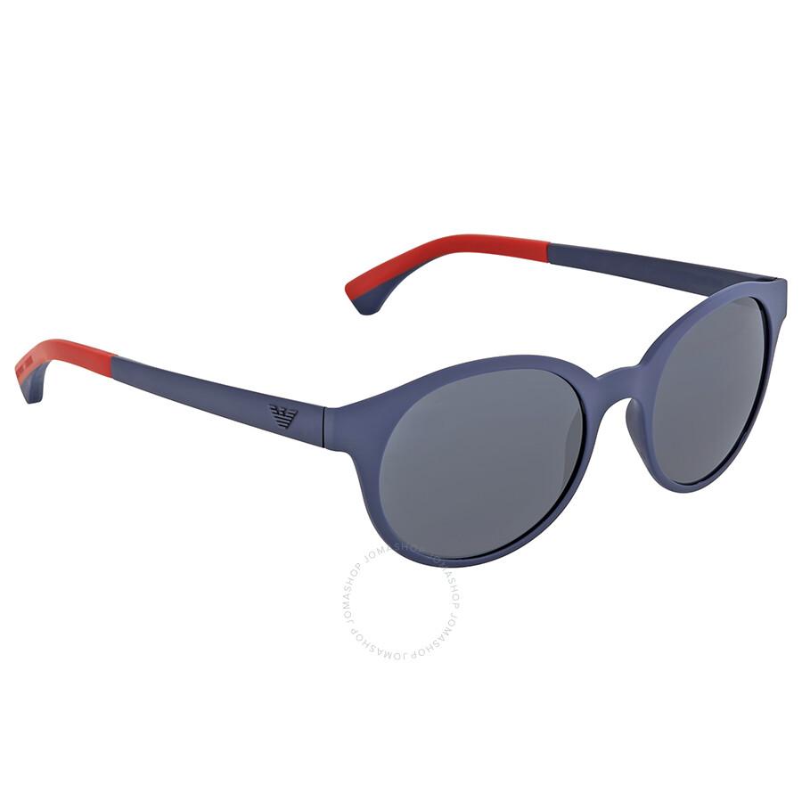 fc77c47e204 Emporio Armani Mate Blue Round Sunglasses Emporio Armani Mate Blue Round  Sunglasses ...