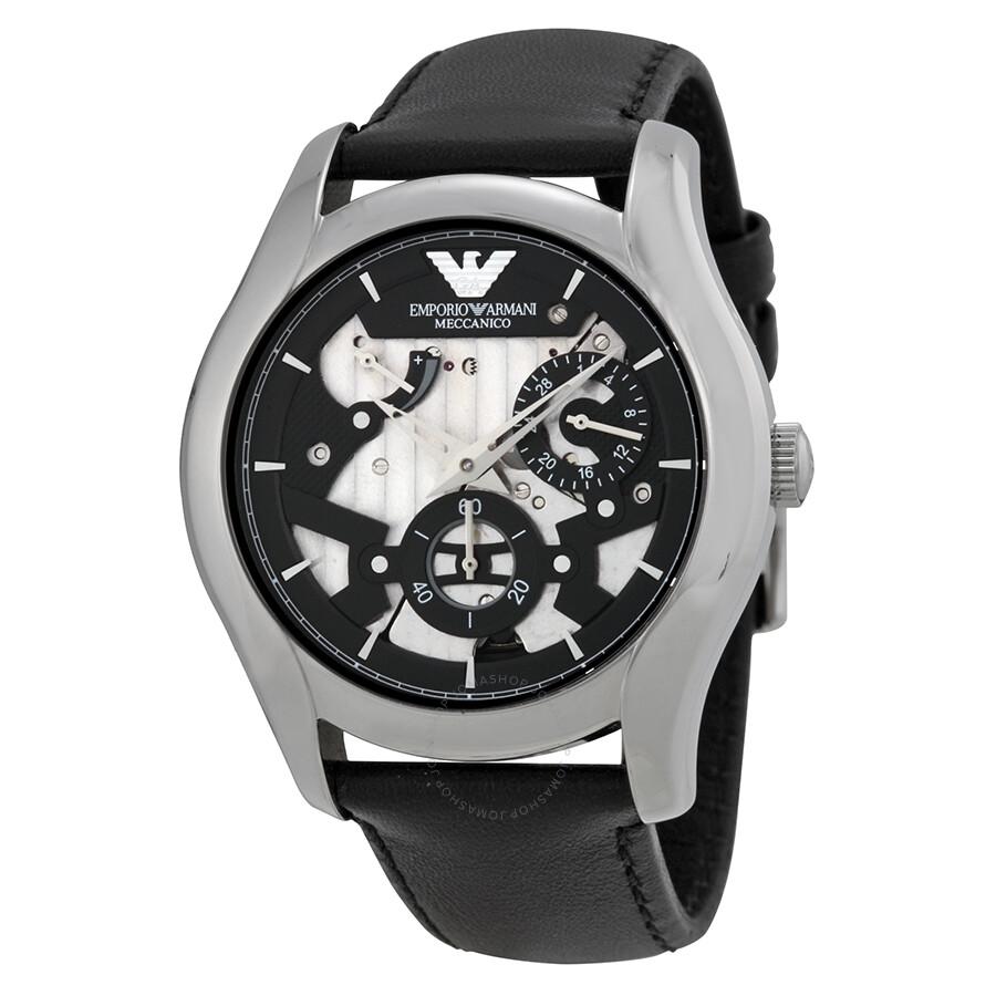 0ca882fc5c4b2 Emporio Armani Meccanico Automatic Black and Grey Dial Leather Men's Watch  AR4673 ...