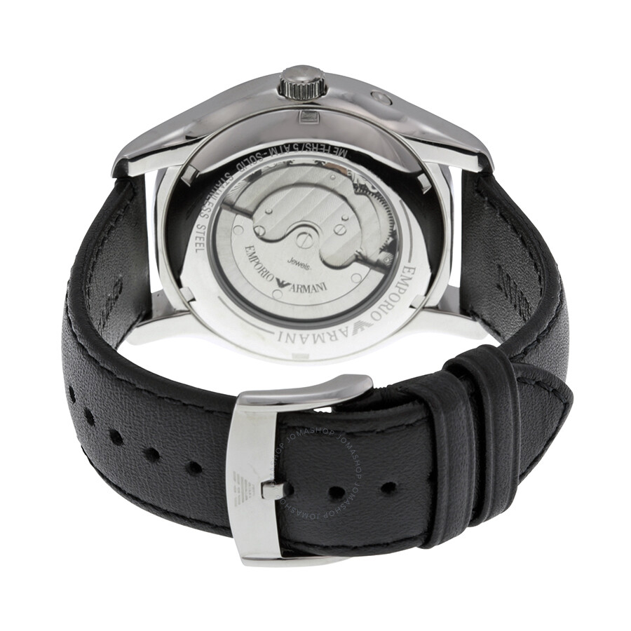 325509d992d0 ... Emporio Armani Meccanico Automatic Black and Grey Dial Leather Men s  Watch AR4673 ...