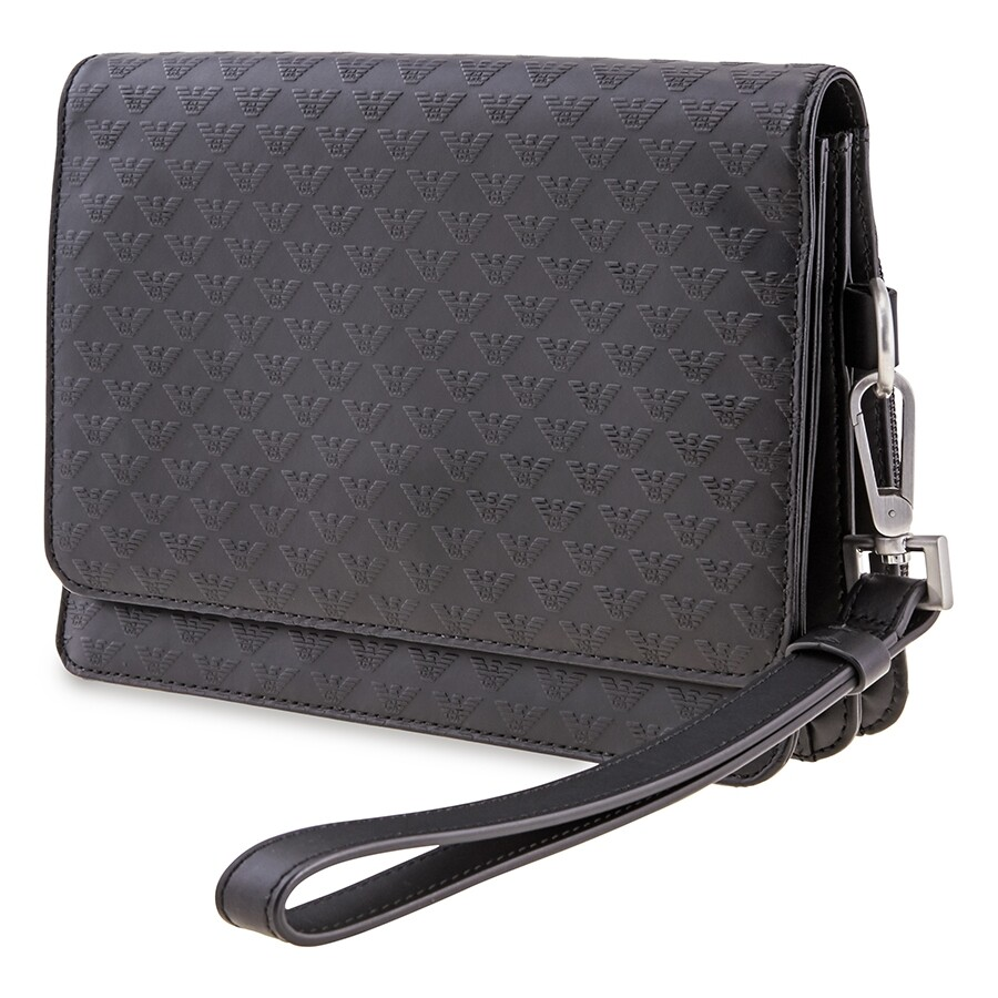 size 40 size 7 uk cheap sale Emporio Armani Men's Clutch Bag Black Minorca Clutch