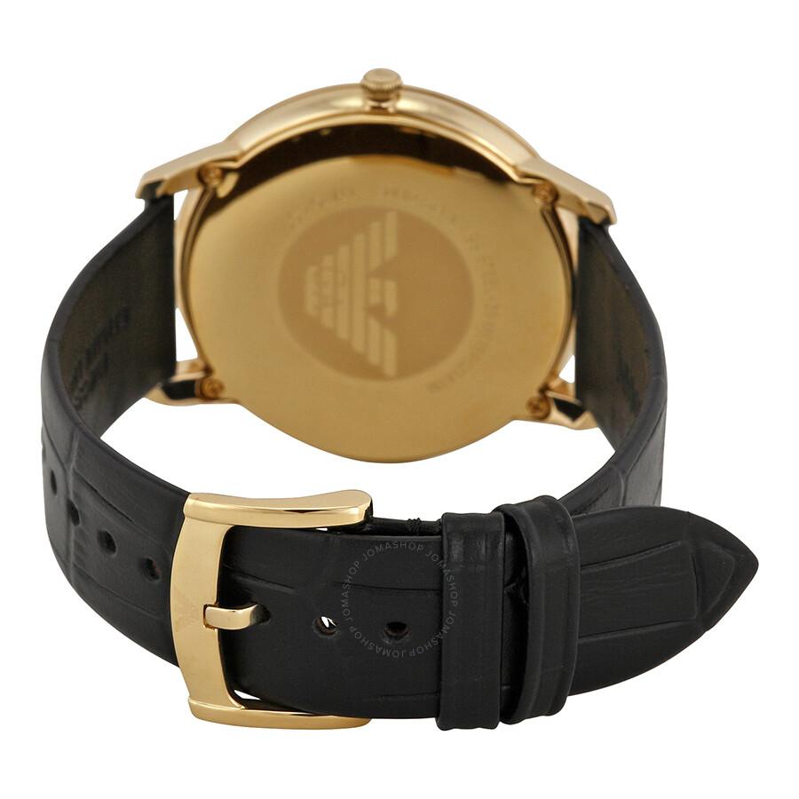 Emporio armani retro black dial black leather strap men 39 s watch ar1742 emporio armani for Black leather strap men