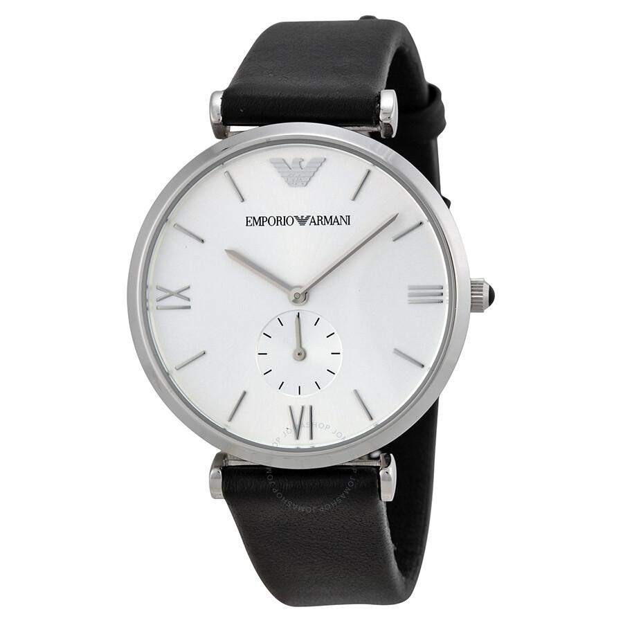 Emporio armani retro silver dial black leather strap men 39 s watch ar1674 emporio armani for Black leather strap men