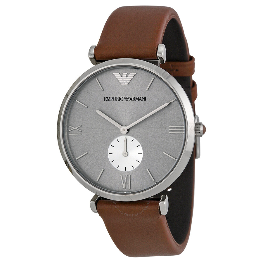 6259a13c08ee Emporio Armani Retro Silver Dial Brown Leather Strap Men s Watch AR1675 ...