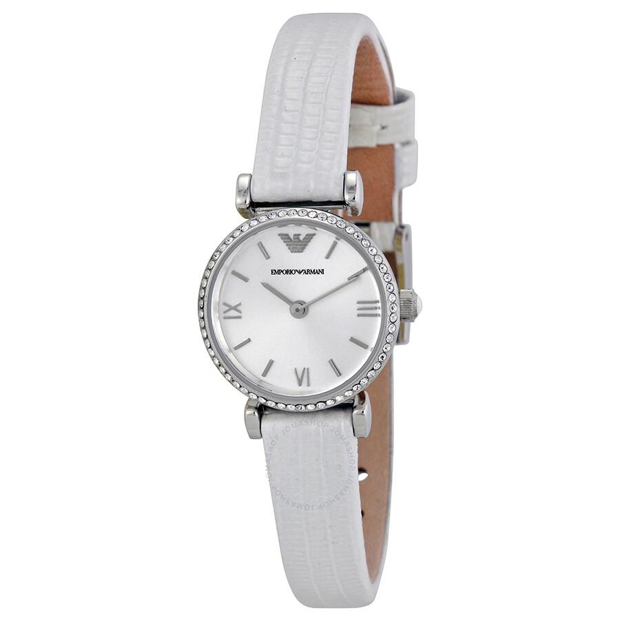 f52624331d Emporio Armani Retro Silver Dial White Leather Strap Ladies Watch AR1686