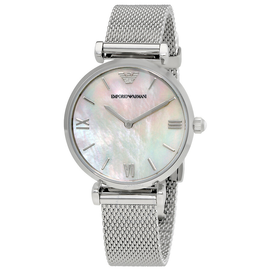 Emporio armani retro white mother of pearl dial ladies watch ar1955 emporio armani watches for Mother of pearl dial watch