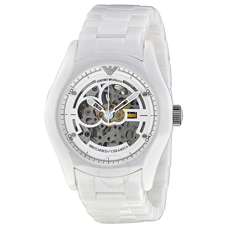 emporio armani skeleton dial white ceramic men s watch ar1415