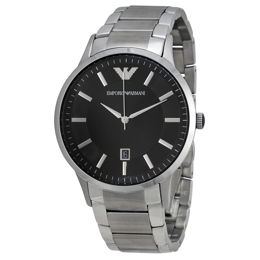 00897e93 Emporio Armani Sportivo Black Dial Stainless Steel Men's Watch AR2457