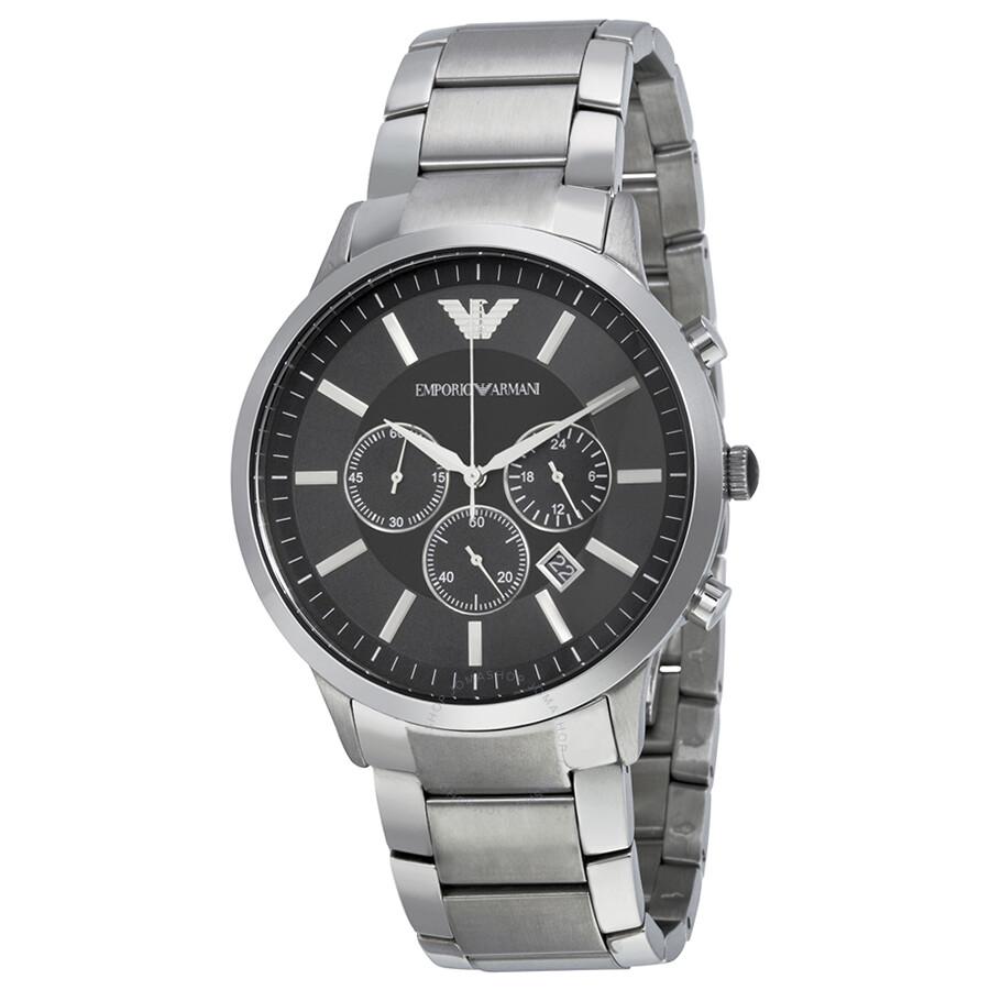 Emporio Armani Sportivo Chronograph Black Dial Steel Men s Watch AR2460 ... 9529df8c1