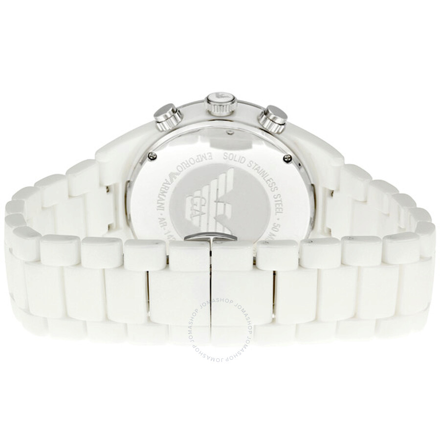 5f3585549d216 ... Emporio Armani White Ceramic Chronograph Ladies Watch AR1424 ...