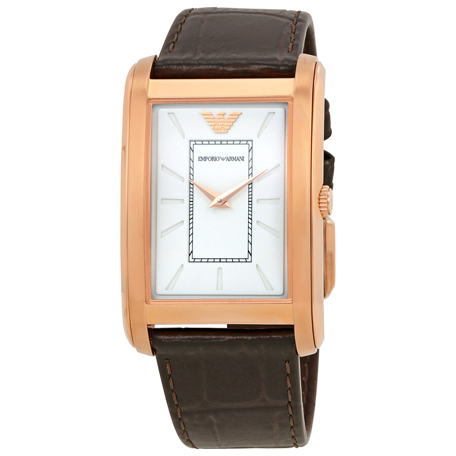 9a362860b462 Emporio Armani White Dial Brown Leather Men s Watch AR1901 - Emporio ...