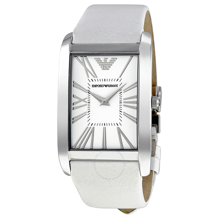 0e56477d49 Emporio Armani White Dial Leather Strap Ladies Watch AR2045 ...