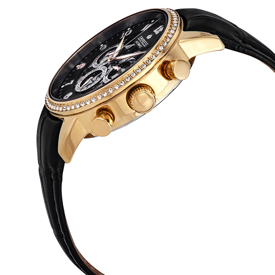 Empress Beatrice Black Skeleton Dial Ladies Watch EM2004
