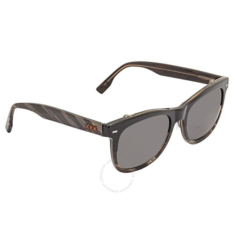1b8af27a4bd1 Ermenegildo Zegna Grey Polarized Square Men's Sunglasses ZC000105D55 ...