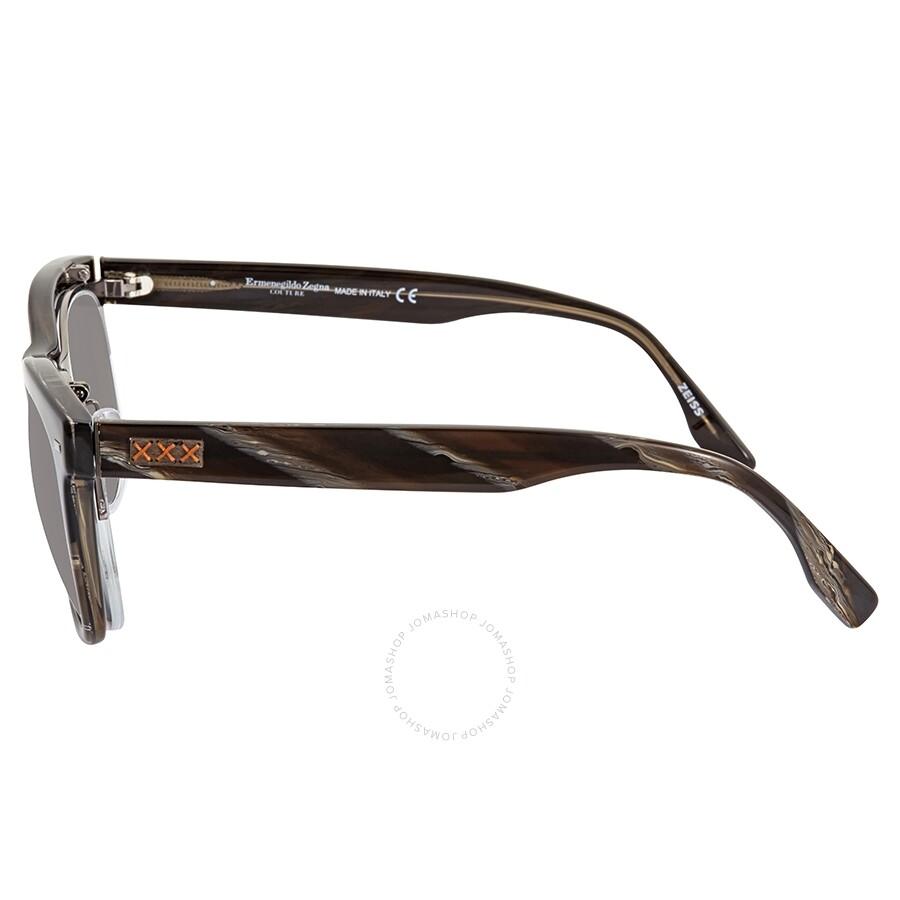 3c178a0d77a4 ... Ermenegildo Zegna Grey Polarized Square Men's Sunglasses ZC000105D55 ...