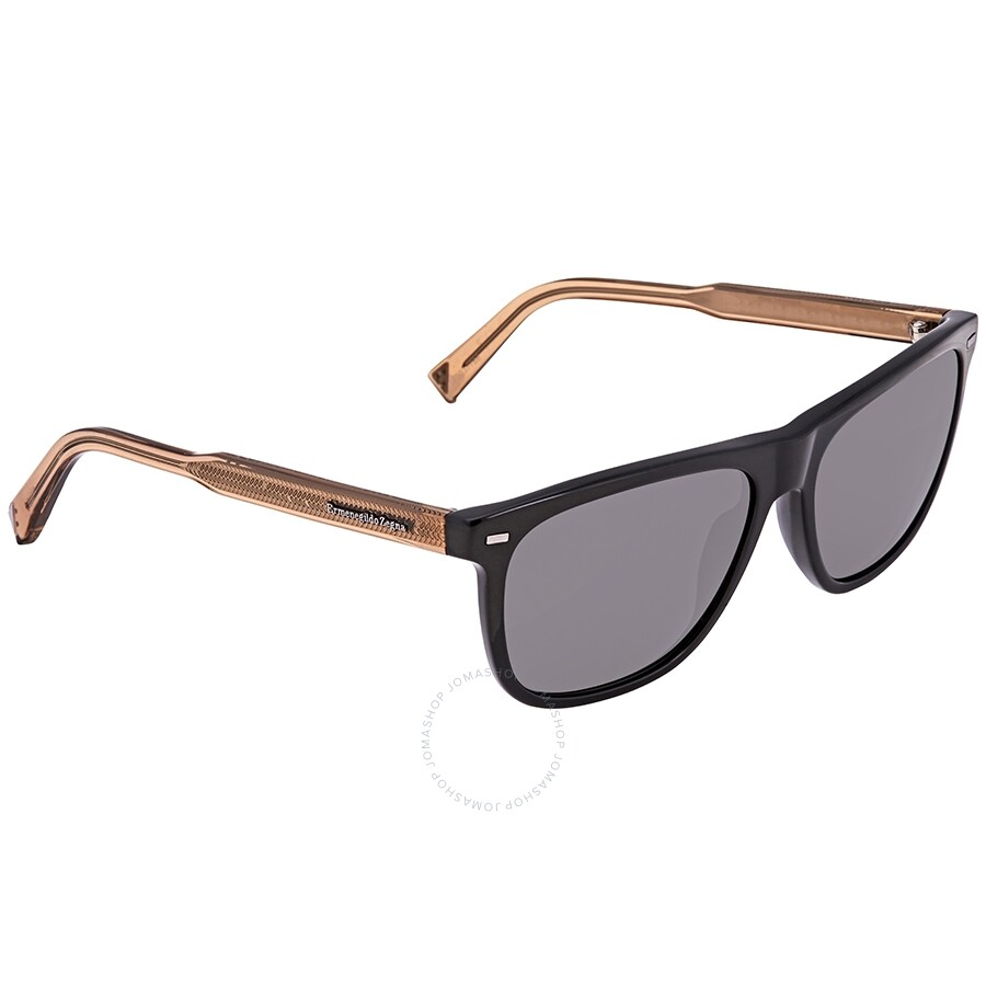 475c851df Ermenegildo Zegna Smoke Polarized Rectangular Men's Sunglasses EZ004101D57  ...