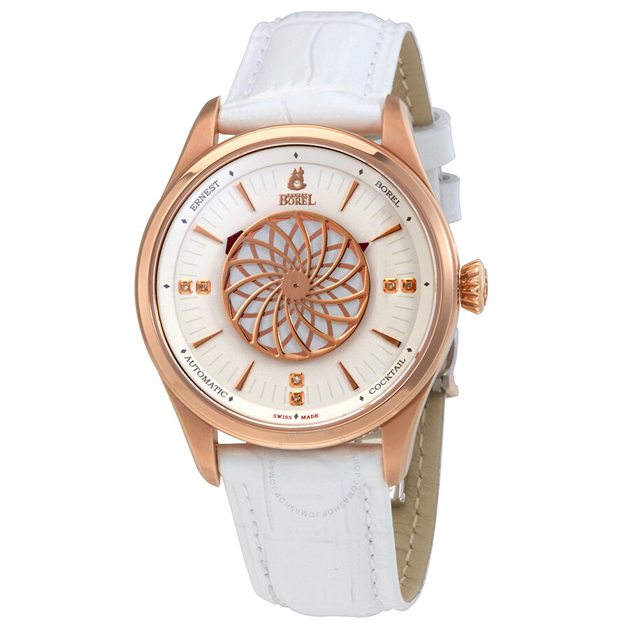 Ernest Borel White Dial Automatic Ladies White Leather Watch  BGR8080-28291WH ... 3c4931faa84