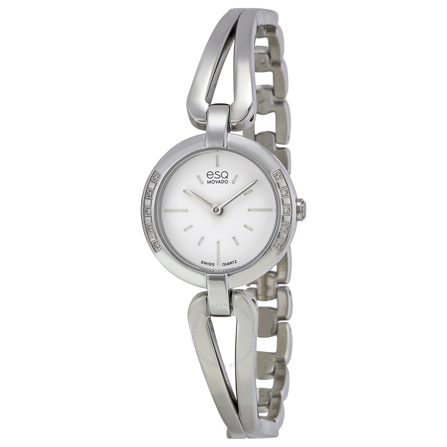 Esq by movado corbel diamond white dial stainless steel bangle ladies watch 07101395 esq by for Ladies bangle watch
