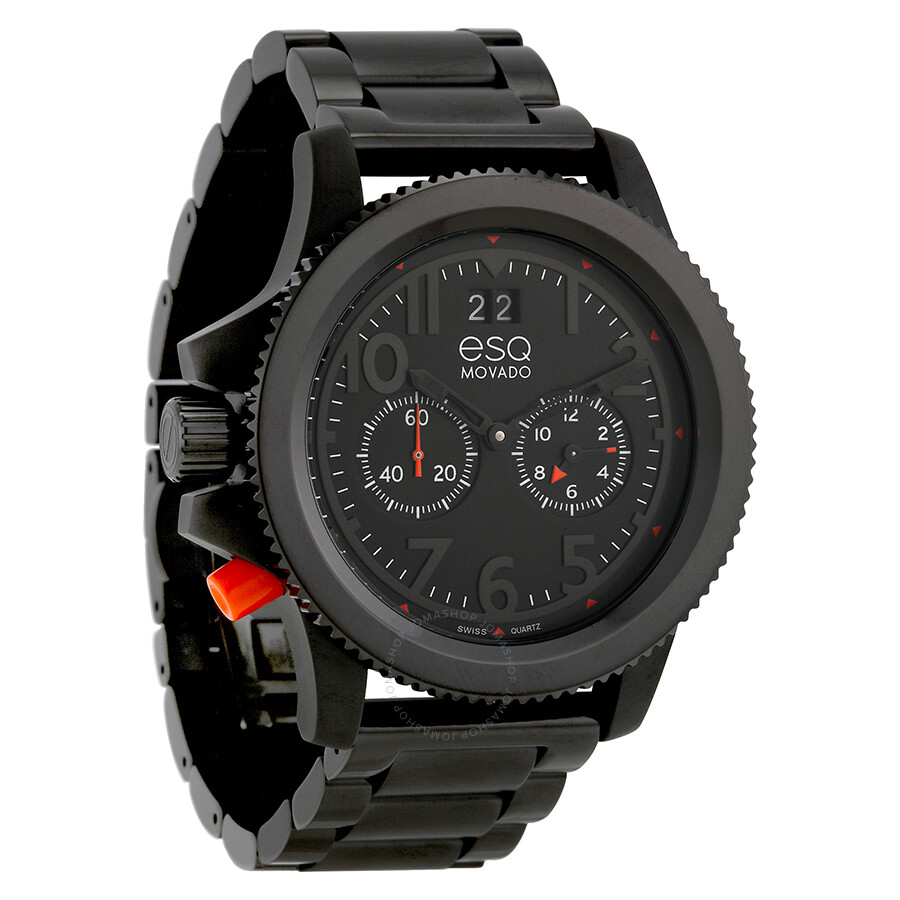 esq by movado fusion dual time black ip stainless steel