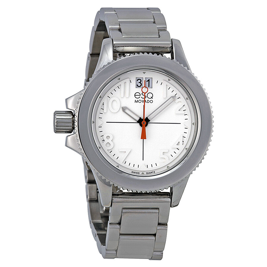 esq by movado fusion white stainless steel
