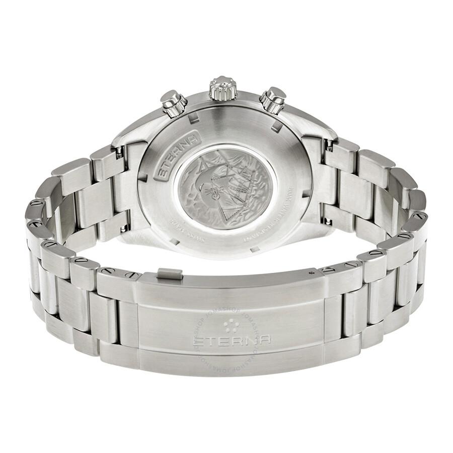 11 Men's 0217 Watch 1250 Eterna 41 Stainless Kontiki Dial Chorongraph White Steel qMVSUzp
