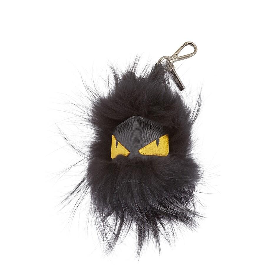 f85585f1b52e Fendi Bag Bug Charm in Black Fur - Fendi - Handbags - Jomashop